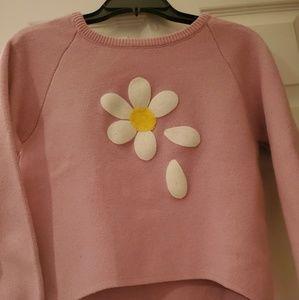 Pink Flower Print Sleeve Dip Hem Sweater
